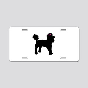 Black Poodle Aluminum License Plate