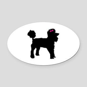 Black Poodle Oval Car Magnet