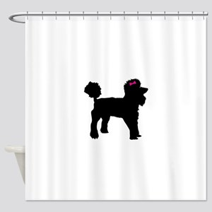 Black Poodle Shower Curtain
