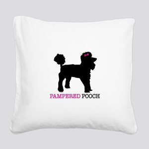 pampered pooch Square Canvas Pillow