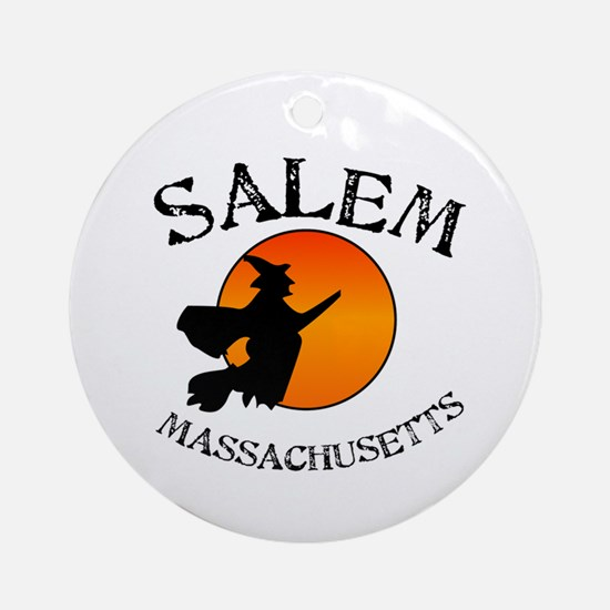 Salem Massachusetts Witch Ornament (Round)