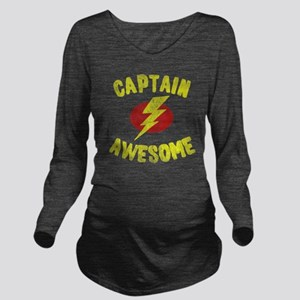 Captain Awesome Long Sleeve Maternity T-Shirt
