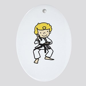 Blonde Karate Guy Ornament (Oval)