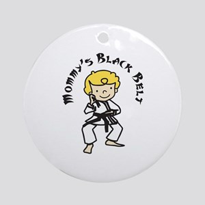 Mommys Black Belt Ornament (Round)