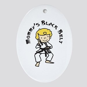 Mommys Black Belt Ornament (Oval)