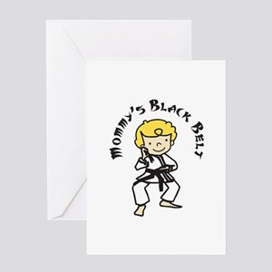 Mommys Black Belt Greeting Cards