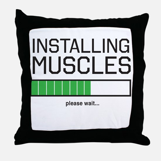 Installing muscles Throw Pillow