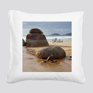 Stacked Boulder Rocks on Whis Square Canvas Pillow