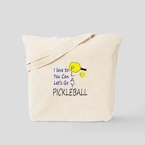 i love to play pickleball blue Tote Bag