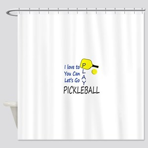 i love to play pickleball blue Shower Curtain