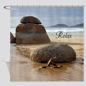 Stacked Boulder Rocks on Whiskey Be Shower Curtain