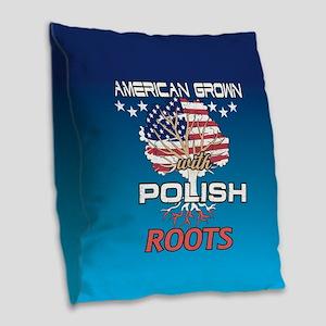 Polish American Burlap Throw Pillow