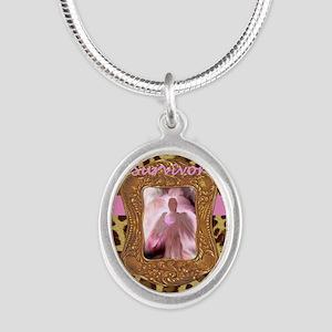Breast Cancer Survivor Angel  Silver Oval Necklace