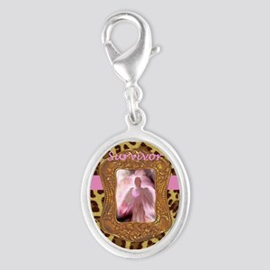 Breast Cancer Survivor Angel in Silver Oval Charm