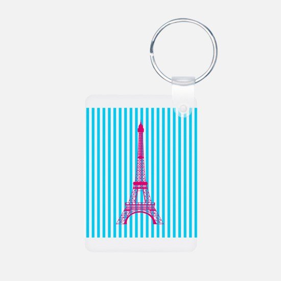 Pink Eiffel Tower on Teal Stripes Keychains