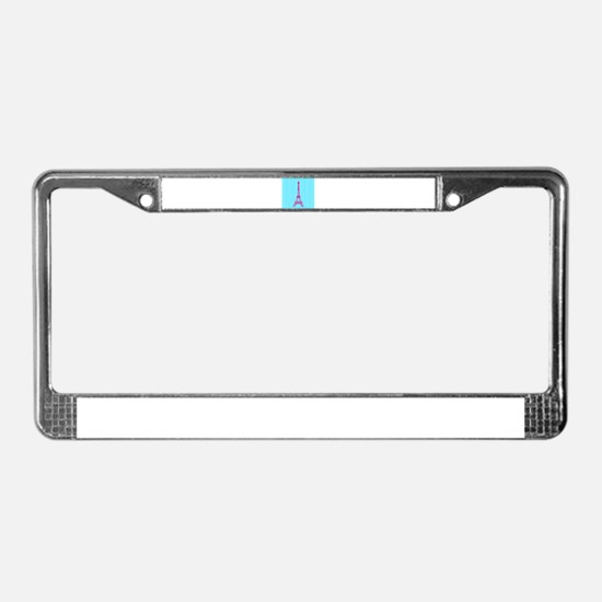 Pink Eiffel Tower on Teal Stripes License Plate Fr