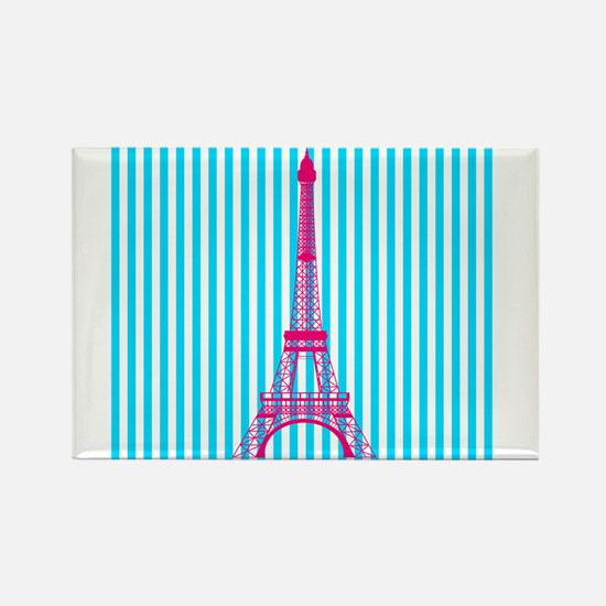 Pink Eiffel Tower on Teal Stripes Magnets