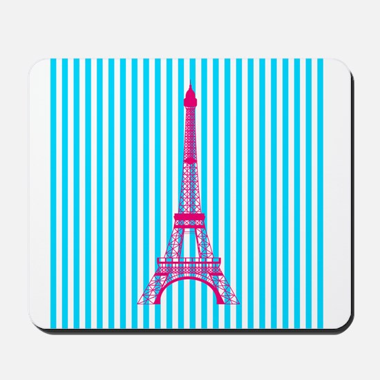 Pink Eiffel Tower on Teal Stripes Mousepad