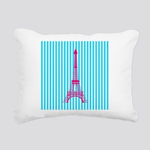 Pink Eiffel Tower on Teal Stripes Rectangular Canv