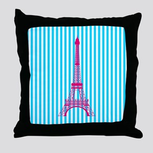 Pink Eiffel Tower on Teal Stripes Throw Pillow