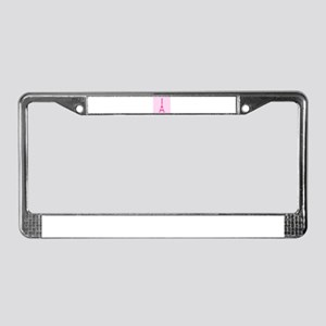 Hot Pink Eiffel Tower Polka Dots License Plate Fra