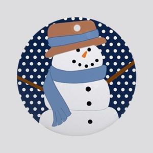 Snowman on Navy White Polka Dots Ornament (Round)