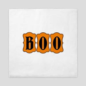 BOO Halloween Orange and Black 2 Queen Duvet