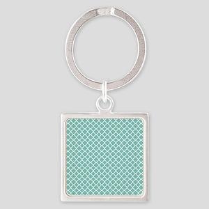 Tiffany Blue & White Moroccan Patt Square Keychain