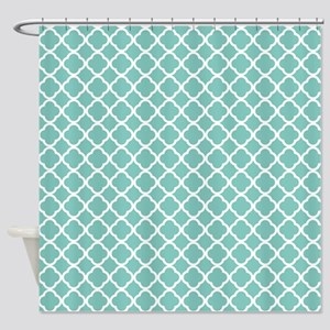 Tiffany Blue & White Moroccan Patte Shower Curtain