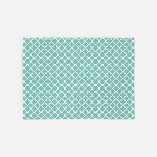 Tiffany Blue & White Moroccan Patte 5'x7'Area Rug