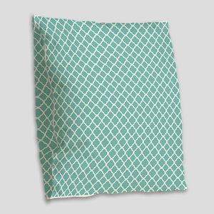 Tiffany Blue & White Moroccan Burlap Throw Pillow