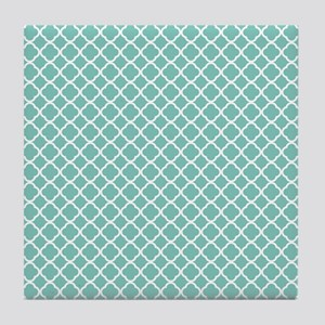 Tiffany Blue & White Moroccan Pattern Tile Coaster