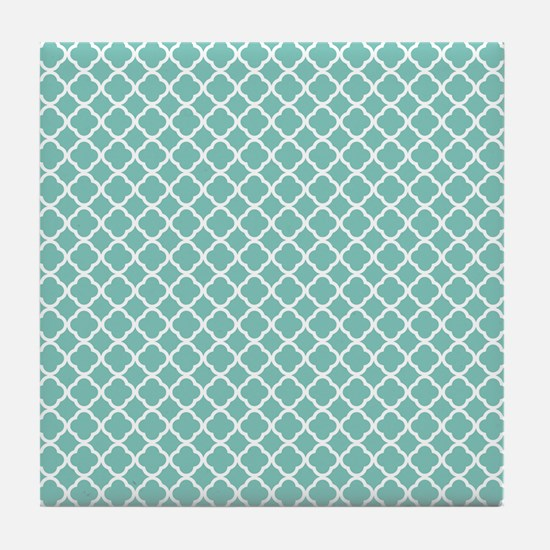 Tiffany Blue & White Moroccan Pattern Tile Coaster
