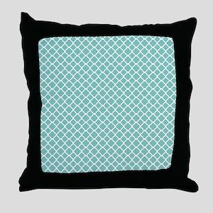 Tiffany Blue & White Moroccan Pattern Throw Pillow