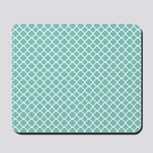 Tiffany Blue & White Moroccan Pattern Mousepad