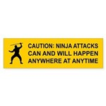Caution: NINJA ATTACKS... Bumper Sticker