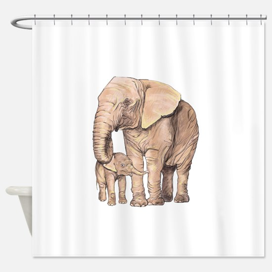Unique Elephant mother and baby Shower Curtain
