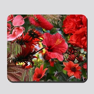 Red Flower Bouquet Collage Mousepad