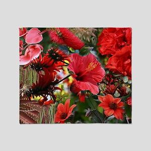 Red Flower Bouquet Collage Throw Blanket