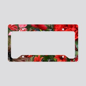 Red Flower Bouquet Collage License Plate Holder