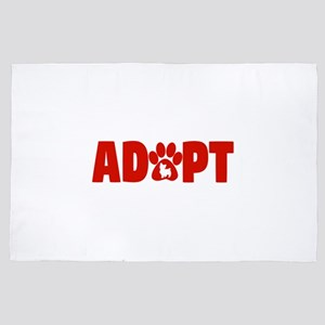 Cute Pets Paw Cat Dog Adopt Red 4' x 6' Rug