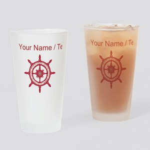 Custom Red Ship Wheel Drinking Glass