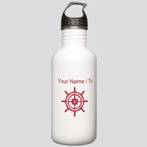 Custom Red Ship Wheel Water Bottle
