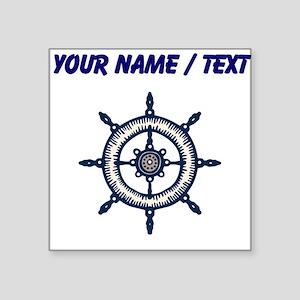 Custom Blue Ship Wheel Sticker