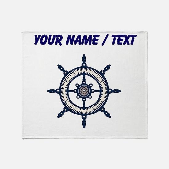 Custom Blue Ship Wheel Throw Blanket
