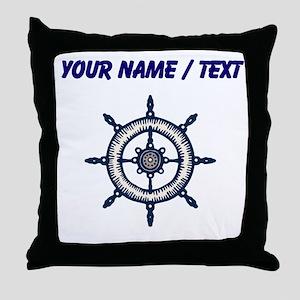 Custom Blue Ship Wheel Throw Pillow