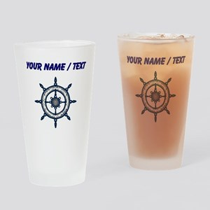 Custom Blue Ship Wheel Drinking Glass