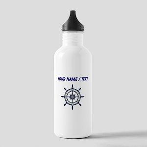 Custom Blue Ship Wheel Water Bottle