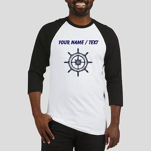 Custom Blue Ship Wheel Baseball Jersey