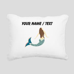 Custom Brunette Mermaid Rectangular Canvas Pillow